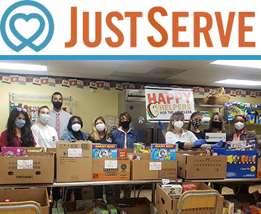 Just Serve logo and volunteers at donation location